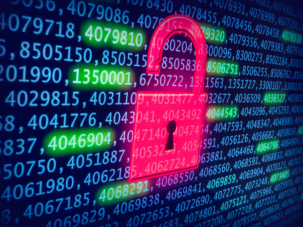 Background: rows of long numbers, some highlighted in green; Foreground: open pink padlock. Image as a whole indicates the unlocking of data.